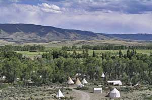 Rocky Mountain National Rendezvous tee pee camp photo
